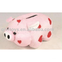 educational toy plush pig money box, animal coin bank,