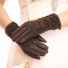 Senhora pele de porco camurça moda couro vestido de condução luvas (yky5211)