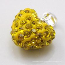 Colgante cristalino amarillo al por mayor de la arcilla de la llegada 15MM de la nueva llegada Shamballa pendiente al por mayor de la arcilla de la forma del corazón para la joyería de DIY