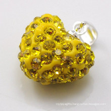 wholesale new arrival Shamballa Pendant Wholesale Heart Shape New Arrival 15MM Yellow Crystal Clay Pendant For DIY Jewelry