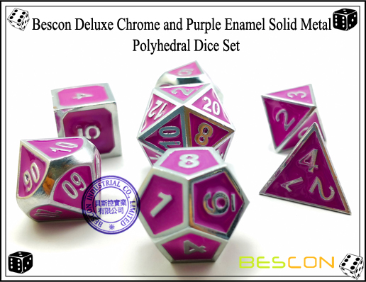 Bescon Deluxe Chrome and Purple Enamel Solid Metal Polyhedral Role Playing RPG Game Dice Set (7 Die in Pack)-3