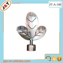 Kupfer doppelte Vorhangstange mit Blatt Metall Finials