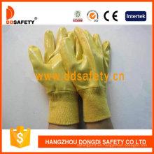 Guantes con recubrimiento de nitrilo amarillo y forro de algodón Dcn323