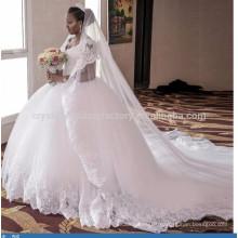 vestido de noiva Custom Made Bridal robe de mariage Western Cathedral Train Ball Gown Lace Wedding Dresses 2017 MW953
