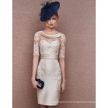 Half Sleeve Lace Applique Knee Length Mother Dress