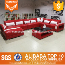 modern luxury red color leather adjustable headrest living room sofa specific use sofa
