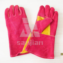 Double Palm Yellow Split Leather Ab/Bc Grade Welding Safety Glove with CE