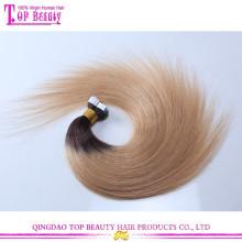 Beste Qualität 7A Qualität zwei Ton peruanischen Remy Haar Band Haarverlängerung Haut Schuss