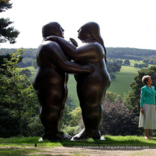 Estátua de casal de bronze abstrato grande tamanho para parque