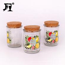 custom logo 320ml round glass food packaging storage glass jars with cork