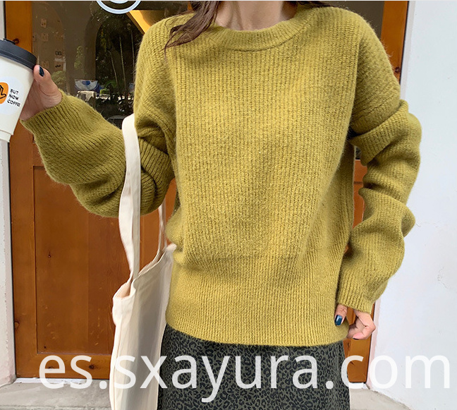 Winter puff sleeve crew neck sweater