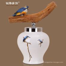 home decorative porcelain decor porcelain flower vases with lid wholesale