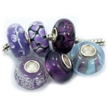 Encantos de cristal de Murano con núcleo de plata 925