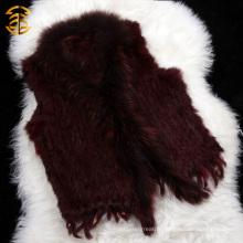 Fabricants de vêtements chinois en gros Femmes Short Knitted Rabbit Fur Vest