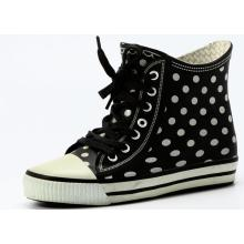 White Dotted Black Rubber Base Women's Waterproof Boots
