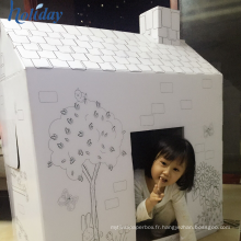 Usine fabrication maison de jeu de poupée de papier de carton de DIY, enfants en gros Playhouse de carton
