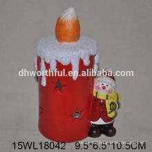 Led light christmas snowman decoration in ceramic