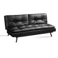 Convertible Metal Folding Leather Futon Sofa Bed