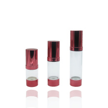 botella sin aire del aerosol plástico transparente rojo cosmético de la bomba
