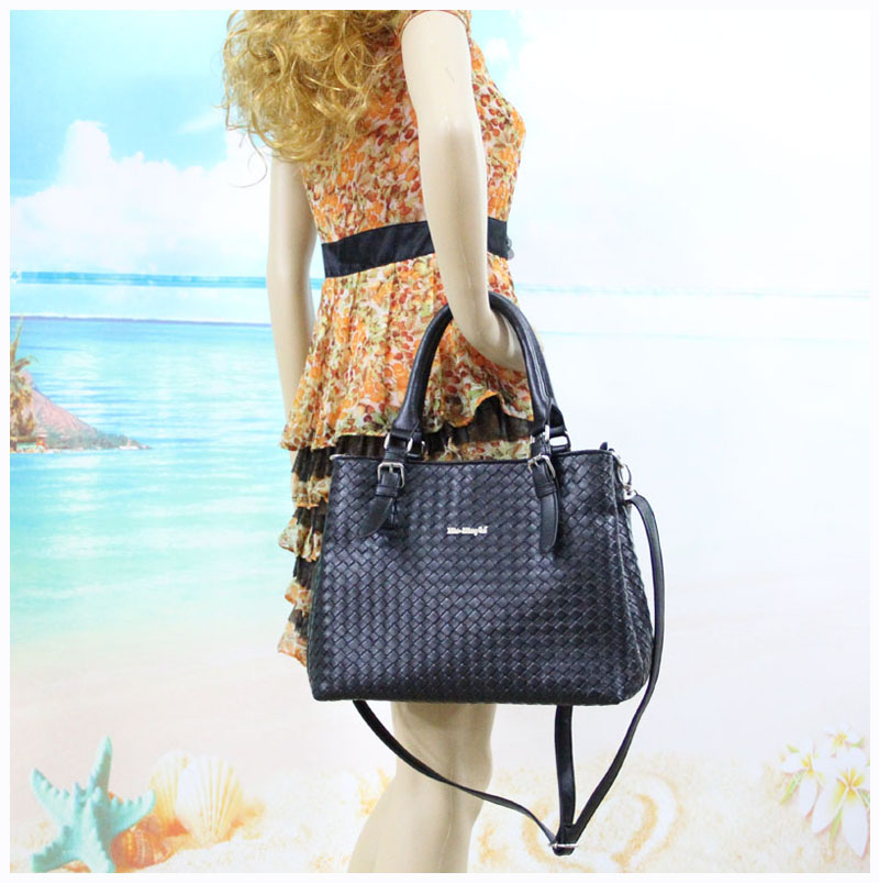Black Novelty Leather Tote