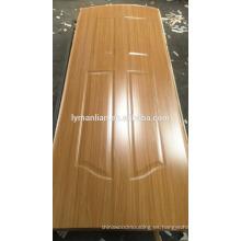 Diseño de la puerta de melamina baño decorativo chapa de madera puerta principal piel