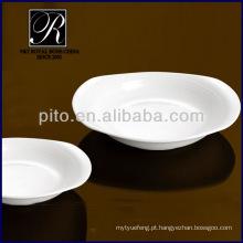 Placas de porcelana P & T, placa de forma oval profunda, placas profundas brancas PT0210