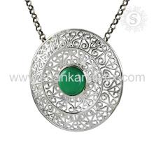 Nueva llegada Graceful verde Onyx piedra preciosa colgante hecho a mano 925 joyería de plata esterlina joyería Jaipur hecha a mano