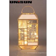 Decoración de Navidad Artesanía de cristal ligero con la secuencia de cobre LED para el arte de la pared (17103)