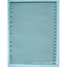 20 pages couleur grise PP Index diviseur avec numéro imprimé (BJ-9026)