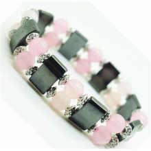 Quartzo rosa 8 milímetros rodada beads esticar Gemstone espaço pulseira com liga e hematita