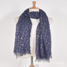 Best fashion women much longer wider blue color print gold polka dots 100% iceland wool viscose poncho scarf wool shawl