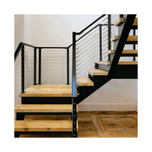 Prefabricated Straight stairs Steel Solid Wood Step Staircase With Glass Railing Stairway Design