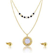 Dainty Choker Beads Necklace Big Shell Pendant Indian Bridal Gold Jewelry Set