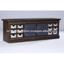 Bacs industriels Vintage 12 Sliver Plated et 2 portes coulissantes en métal Stand TV
