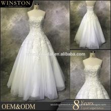 Лучшее качество продажи свадебные платья линии V шеи длина пола