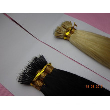 Black and Blond double drawn virgin indian hair Nano Ring Hair Double Drawn Virgin Hair