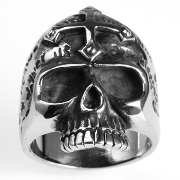 New product custom logo gold cross skull ring