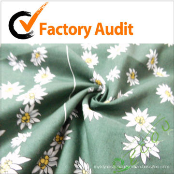 100% cotton printed white flower fabric