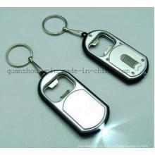 Corrente do anel chave de Keychain do abridor de garrafa do diodo emissor de luz do metal do OEM
