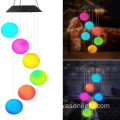Solar al aire libre Led bola colgante Wind Chime Light