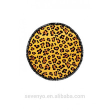 100% polyester sexy leopard print round beach towels for adults