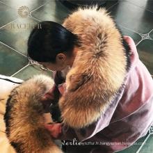 Parka doublée de fourrure avec capuche raton laveur manteau épais pardessus véritable parka de fourrure