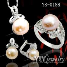 925 joyas de plata esterlina conjunto con perla naranja (YS-0188)