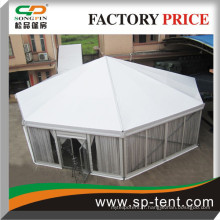 Tentes rondes octogonales diagonales de 15 m à vendre avec des murs transparents et des revêtements intérieurs