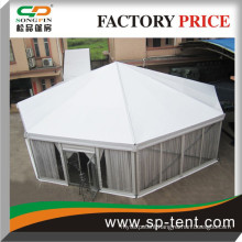 Diagonal 15m Octagon round tents for sale with transparent walls and inner linings