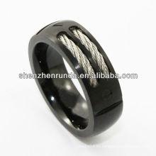 Forme a joyería el anillo del tungsteno enmarca el negro del cable de la galjanoplastia La manera en la feria de la joyería de Asia