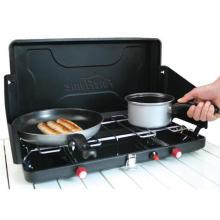 Mini estufa de gas portátil que acampa plegable con 2 quemadores