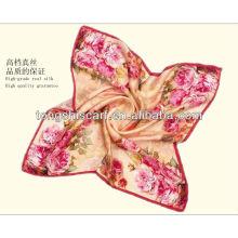 Fashion digital printed silk square scarf for lady