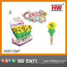 Brinquedos baratos da flor de Sun do plástico dos miúdos com brinquedos macios dos doces (caixa 12pcs / Display)