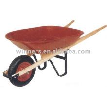 8 brouette en bois de poignée en bois de plateau carré (WH4400), roues de pouvoir, chariot de jardin en bois, brouette de puissance